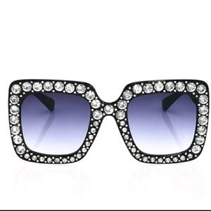 Accessories - Oversized Embellished Square Sunglasses